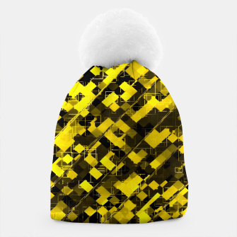 geometric square pixel pattern abstract background in yellow and black Beanie miniature