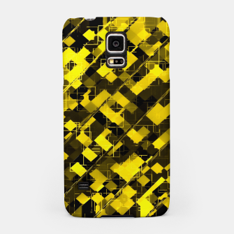 geometric square pixel pattern abstract background in yellow and black Samsung Case miniature