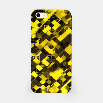 geometric square pixel pattern abstract background in yellow and black iPhone Case miniature