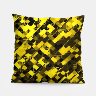 geometric square pixel pattern abstract background in yellow and black Pillow miniature