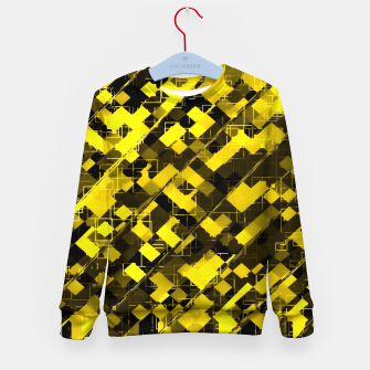 Miniature de image de geometric square pixel pattern abstract background in yellow and black Kid's sweater, Live Heroes