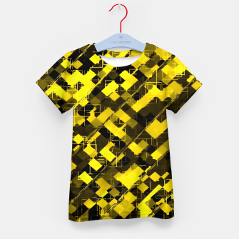 geometric square pixel pattern abstract background in yellow and black Kid's t-shirt miniature