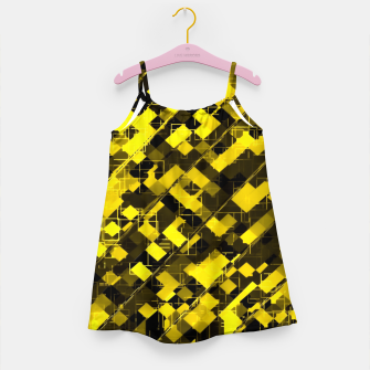 geometric square pixel pattern abstract background in yellow and black Girl's dress miniature