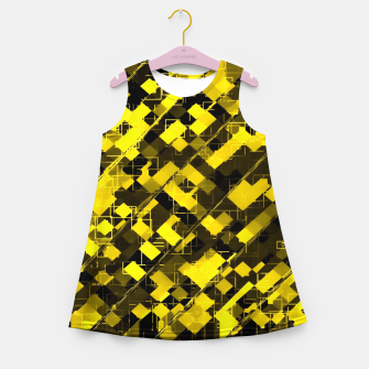 Miniature de image de geometric square pixel pattern abstract background in yellow and black Girl's summer dress, Live Heroes