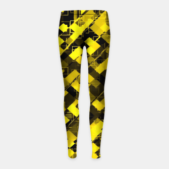geometric square pixel pattern abstract background in yellow and black Girl's leggings miniature