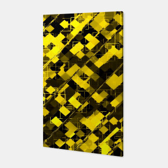 geometric square pixel pattern abstract background in yellow and black Canvas miniature