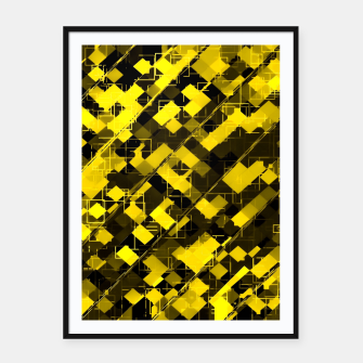 geometric square pixel pattern abstract background in yellow and black Framed poster miniature