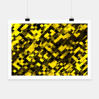 Miniature de image de geometric square pixel pattern abstract background in yellow and black Poster, Live Heroes