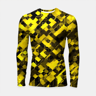 Miniaturka geometric square pixel pattern abstract background in yellow and black Longsleeve rashguard , Live Heroes