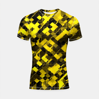 Imagen en miniatura de geometric square pixel pattern abstract background in yellow and black Shortsleeve rashguard, Live Heroes