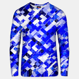 Miniaturka geometric square pixel pattern abstract background in blue Unisex sweater, Live Heroes