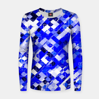 Miniature de image de geometric square pixel pattern abstract background in blue Women sweater, Live Heroes