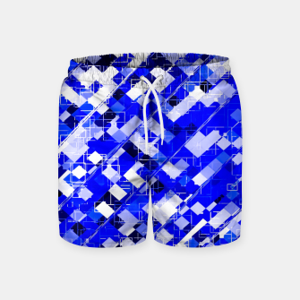 Miniaturka geometric square pixel pattern abstract background in blue Swim Shorts, Live Heroes