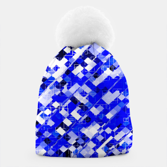 Miniaturka geometric square pixel pattern abstract background in blue Beanie, Live Heroes