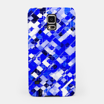 Miniaturka geometric square pixel pattern abstract background in blue Samsung Case, Live Heroes