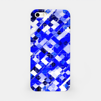 Miniaturka geometric square pixel pattern abstract background in blue iPhone Case, Live Heroes