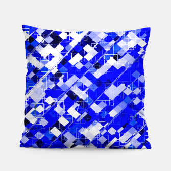 Miniaturka geometric square pixel pattern abstract background in blue Pillow, Live Heroes