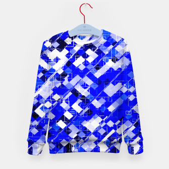 Miniaturka geometric square pixel pattern abstract background in blue Kid's sweater, Live Heroes