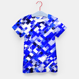 Miniaturka geometric square pixel pattern abstract background in blue Kid's t-shirt, Live Heroes