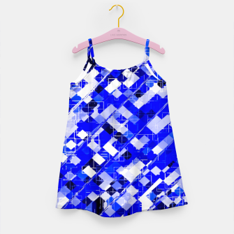 Miniaturka geometric square pixel pattern abstract background in blue Girl's dress, Live Heroes