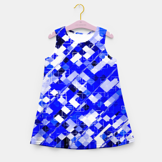 Miniaturka geometric square pixel pattern abstract background in blue Girl's summer dress, Live Heroes