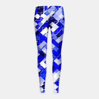 Miniaturka geometric square pixel pattern abstract background in blue Girl's leggings, Live Heroes
