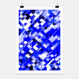 Miniature de image de geometric square pixel pattern abstract background in blue Poster, Live Heroes
