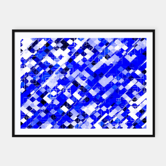 Miniaturka geometric square pixel pattern abstract background in blue Framed poster, Live Heroes