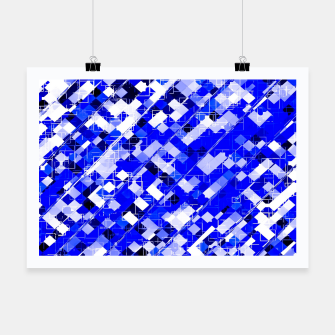 Miniaturka geometric square pixel pattern abstract background in blue Poster, Live Heroes