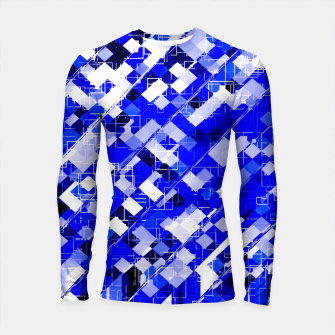 Miniaturka geometric square pixel pattern abstract background in blue Longsleeve rashguard , Live Heroes