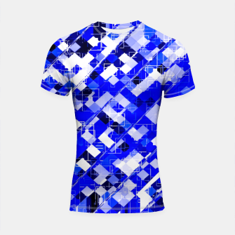 Miniaturka geometric square pixel pattern abstract background in blue Shortsleeve rashguard, Live Heroes