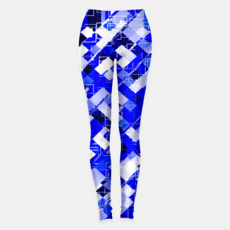 Miniaturka geometric square pixel pattern abstract background in blue Leggings, Live Heroes