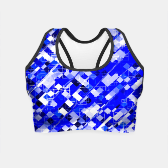 Miniaturka geometric square pixel pattern abstract background in blue Crop Top, Live Heroes
