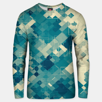 blue geometric square pixel pattern abstract background Unisex sweater obraz miniatury