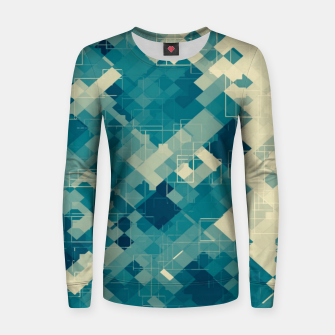 blue geometric square pixel pattern abstract background Women sweater obraz miniatury