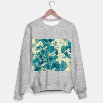 blue geometric square pixel pattern abstract background Sweater regular obraz miniatury