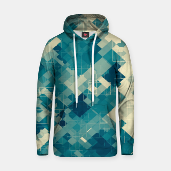 blue geometric square pixel pattern abstract background Hoodie obraz miniatury