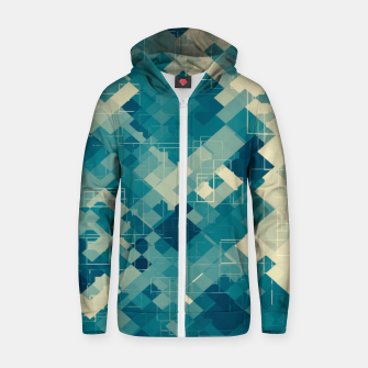 blue geometric square pixel pattern abstract background Zip up hoodie obraz miniatury