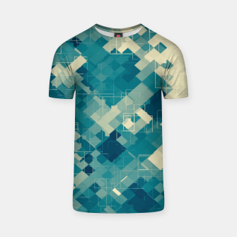 Miniaturka blue geometric square pixel pattern abstract background T-shirt, Live Heroes