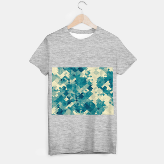 blue geometric square pixel pattern abstract background T-shirt regular obraz miniatury