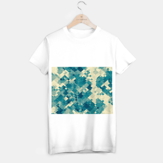 Miniaturka blue geometric square pixel pattern abstract background T-shirt regular, Live Heroes