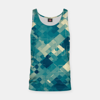 blue geometric square pixel pattern abstract background Tank Top obraz miniatury