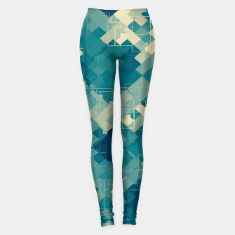 blue geometric square pixel pattern abstract background Leggings obraz miniatury