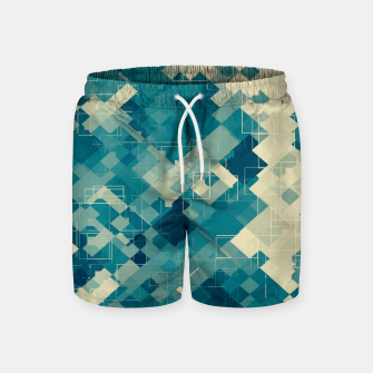 blue geometric square pixel pattern abstract background Swim Shorts obraz miniatury