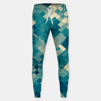blue geometric square pixel pattern abstract background Sweatpants obraz miniatury