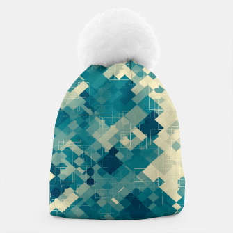 blue geometric square pixel pattern abstract background Beanie obraz miniatury