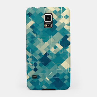 blue geometric square pixel pattern abstract background Samsung Case obraz miniatury