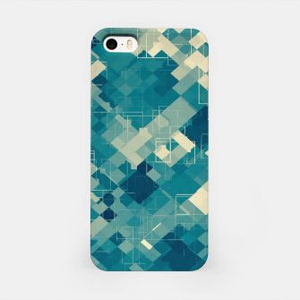 blue geometric square pixel pattern abstract background iPhone Case obraz miniatury