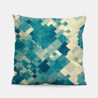 blue geometric square pixel pattern abstract background Pillow obraz miniatury