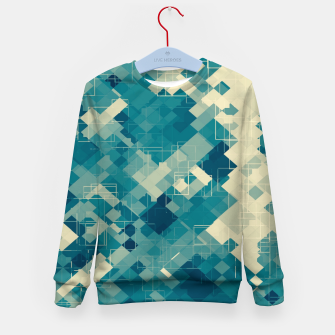 blue geometric square pixel pattern abstract background Kid's sweater obraz miniatury